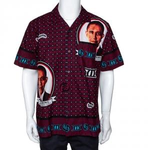 Supreme Brick Red Cotton Obama Print Bowling Shirt L