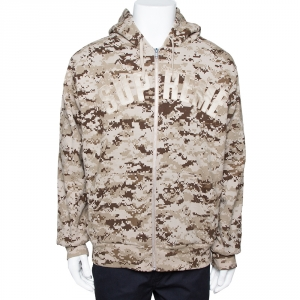 Supreme Tan Cotton Arc Logo Thermal Zip Up Sweatshirt L