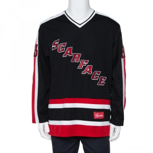 Supreme Black Scarface Embroidered Synthetic Paneled Hockey Jersey L