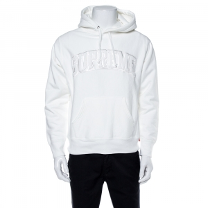 Supreme White Cotton Tent Leather Arc Logo Hoodie S