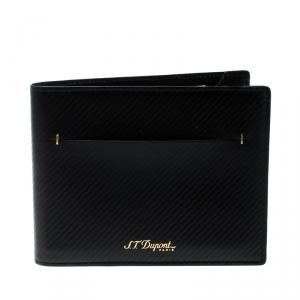 S.T. Dupont Black Leather James Bond 7CC Bifold Wallet