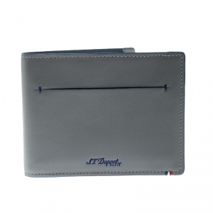 S.T. Dupont Grey Leather D Line 7CC Bifold Wallet