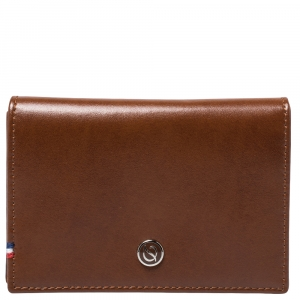 S.T. Dupont Tan Leather Business Line D Cards Holder