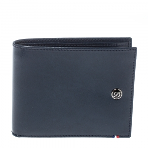 S.T. Dupont Navy Blue Leather Bifold Wallet