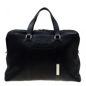 S.T. Dupont Deep Navy Blue Leather Line D Tony Stark Document and Laptop Holder Briefcase