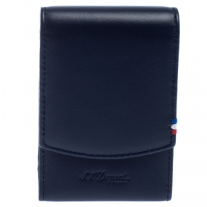 S.T. Dupont Navy Blue Leather Cigarette Pack Case