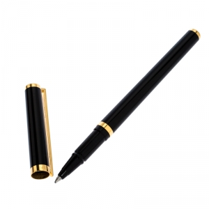 S.T. Dupont Black Lacquer Gold Plated Rollerball Pen