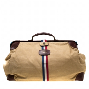 S.T. Dupont Beige/Brown Canvas and Leather Bogie Duffle Bag