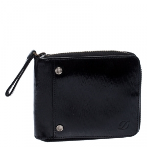 S.T. Dupont Black Leather Zipped Compact Wallet