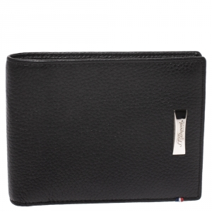 S.T. Dupont Black Carbon Leather Bifold Wallet