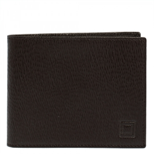 S.T. Dupont Dark Brown Textured Leather Bifold Wallet