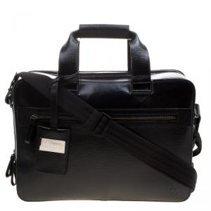 S.T. Dupont Black Leather Document Holder Briefcase