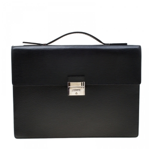 S.T. Dupont Black Leather Line D Gusset Briefcase