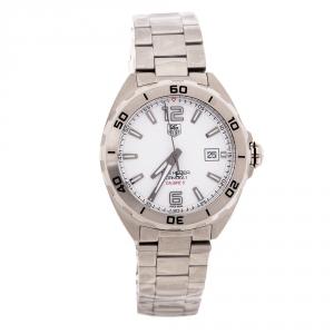 ساعة يد رجالية تاغ هيوير فورمولا كاليبر 5 WAZ2114.BA0875 ستانلس ستيل بيضاء 41 مم