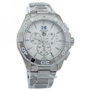 """ساعة يد رجالية تاغ هيوير """"اكواريسير سي ايه واي1111 كوارتز"""" ستانلس ستيل بيضاء 43 مم"""