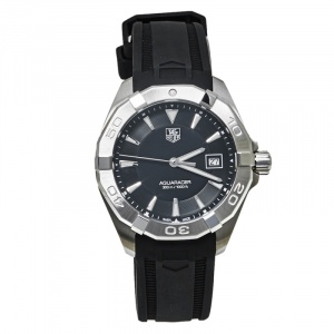 Tag Heuer Black Stainless Steel Aquaracer WAY1110 Men's Wristwatch 41MM