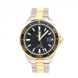 ساعة يد رجالية تاغ هيوير اكواريسر WAK2122 ستانلس ستيل لونين سوداء 41 مم