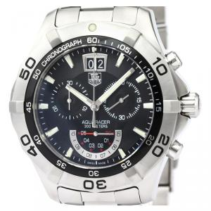 Tag Heuer Black Stainless Steel Aquaracer Chronograph Grand Date CAF101A Men's Wristwatch 44MM