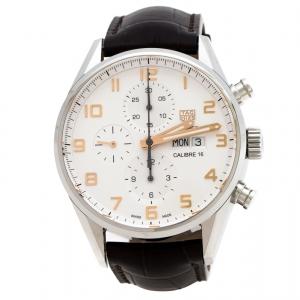 ساعة يد نسائية تاغ هيوير كاريرا كاليبر 16 CV2A1AC  ستانلس ستيل بيضاء فضية 43مم