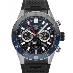 Tag Heuer Black Stainless Steel Carrera Chronograph GMT CBG2A1Z.FT6157 Men's Wristwatch 45 MM
