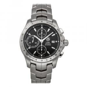 Tag Heuer Black Stainless Steel Link Chronograph CJF2110.BA0576 Men's Wristwatch 42 MM