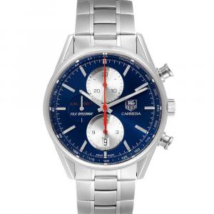 Tag Heuer Blue Stainless Steel Carrera Fuji Speedway Limited Production CAR211B Men's Wristwatch 41 MM