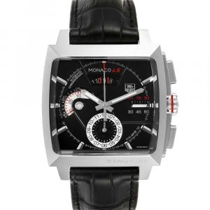 Tag Heuer Black Stainless Steel Monaco Automatic Chronograph CAL2110 Men's Wristwatch 40.5 MM