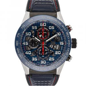 Tag Heuer Blue Stainless Steel Carrera Chronograph CAR2A1N.FT6100 Men's Wristwatch 45 MM
