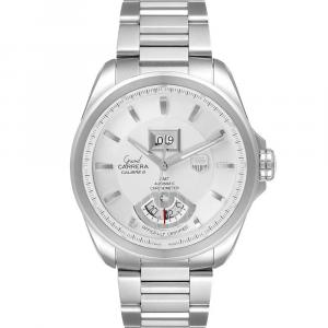 Tag Heuer Silver Stainless Steel Grand Carrera GMT Chronograph WAV5112 Men's Wristwatch 42.5 MM