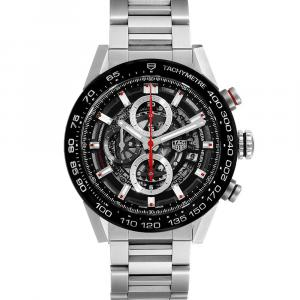 Tag Heuer Black Stainless Steel Carrera Caliber Heuer 01 CAR201V Men's Wristwatch 43 MM