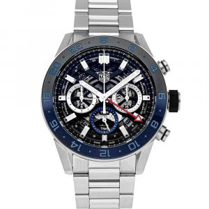 Tag Heuer Black Stainless Steel Carrera GMT Chronograph CBG2A1Z.BA0658 Men's Wristwatch 45 MM