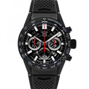 Tag Heuer Black Ceramic Carrera Chronograph CBG2090.FT6145 Men's Wristwatch 45 MM