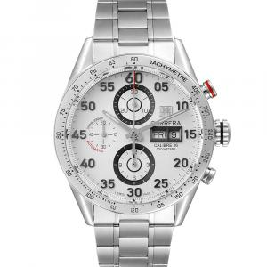 Tag Heuer Silver Stainless Steel Carrera Day-Date CV2A11 Men's Wristwatch 43 MM