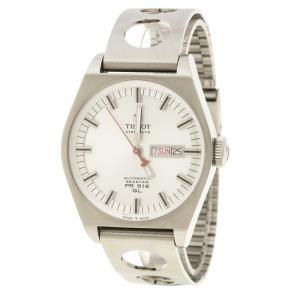 ساعة يد رجالية تيسوت سيستار هيريتدج PR516 T071430A اوتوماتيك ستانلس ستيل بيضاء فضية 40 مم