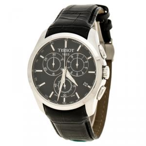 ساعة يد رجالية تيسوت كوتوريه T0356617A كرونوغراف ستانلس ستيل سوداء 42مم