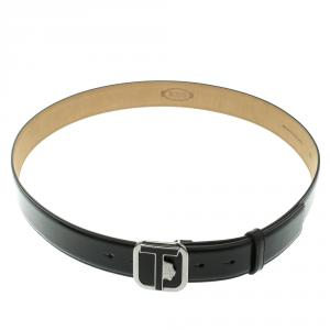 Tod's Black Glossy Leather Leoni Buckle Belt 105cm