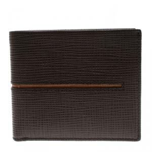 Tod's Brown Leather Stripe Orange Lined Bifold Wallet