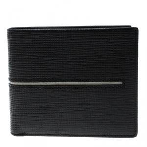 Tod's Black Leather Stripe Grey Lined Bifold Wallet