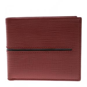 Tod's Red Leather Stripe Grey Lined Bifold Wallet