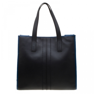 Tod's Black/Blue Leather Slim Script Tote