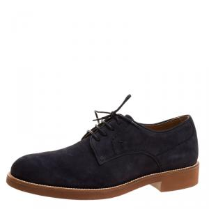 Tod's Navy Blue Suede Lace Up Derby Size 41