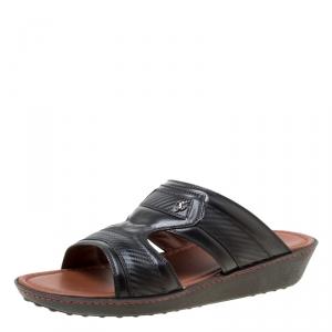 Tod's For Ferrari Limited Edition Black Leather Platform Slide Sandals Size 41