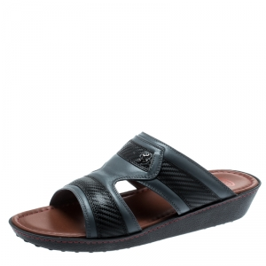 Tod's For Ferrari Limited Edition Grey Leather Platform Slide Sandals Size 41.5