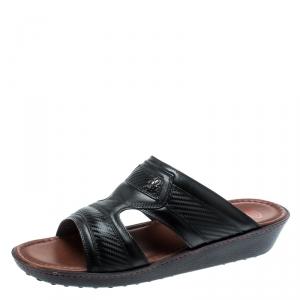 Tod's For Ferrari Limited Edition Black Leather Platform Slide Sandals Size 41.5