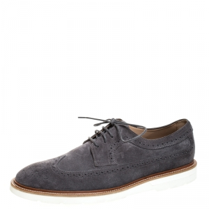 Tod's Grey Brogue Suede Bucature Lace Up Derby Size 43
