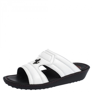 Tod's For Ferrari Limited Edition White Leather Open Toe Sandals Size 39.5
