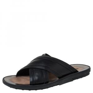 Tod's Black Leather Crossed Strap Slider Sandals Size 41.5