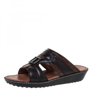 Tod's Black Leather And Lizard Embossed Trim Platform Slide Sandals Size 39.5