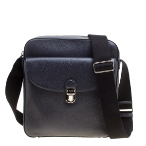 Tod's Navy Blue Leather Reporter Messenger Bag