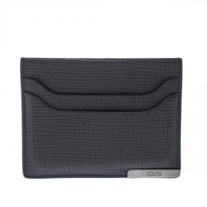 Tod's Dark Grey Textured Leather Cardholder